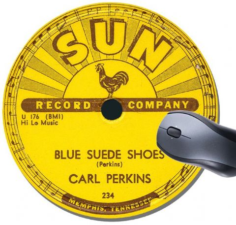 Sun Records Record Label Round Mouse Pad. Carl Perkins Blue Suede Shoes Rockabilly Mouse Mat